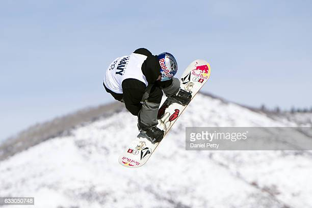 Marcus Kleveland competes in the second and final run of the men's snowboard slopestyle final during Day 4 of Winter X Games 2017 Aspen at Buttermilk...