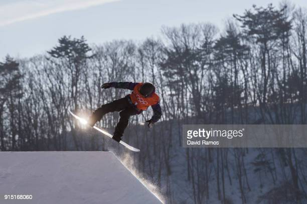 Marcus Kleveland of Norway in action during a slope style training session ahead of the PyeongChang 2018 Winter Olympic Games at Bokwang Phoenix Snow...