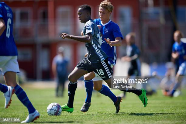 Marcus Korang of FC Copenhagen controls the ball during the friendly match between FC Copenhagen and Lyngby Boldklub at KB's baner on June 27 2018 in...