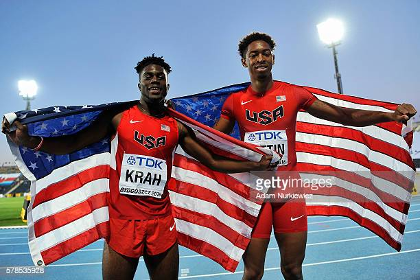 Marcus Krah and Amere Lattin both from USA celebrate their medals in men's 100 meters while the IAAF World U20 Championships Day 3 at Zawisza Stadium...