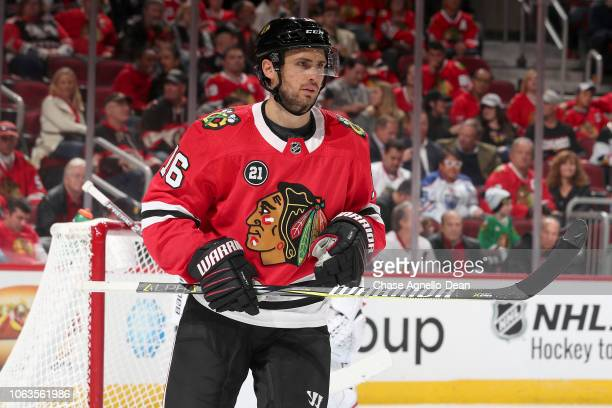 Marcus Kruger of the Chicago Blackhawks looks across the ice in the third period against the Edmonton Oilers at the United Center on October 28 2018...