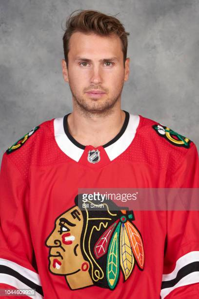 Marcus Kruger of the Chicago Blackhawks poses for his official headshot for the 20182019 season on September 14 2018 at the United Center in Chicago...