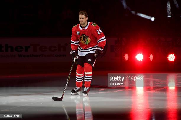 Marcus Kruger of the Chicago Blackhawks skates prior to the game against the Toronto Maple Leafs at the United Center on October 7 2018 in Chicago...
