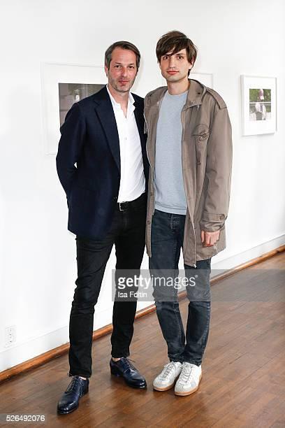 Marcus Kurz cofounder of the berliner Modesalon and photo artist Max von Gumppenberg at 'Der Berliner Fotografie Salon Edition 1' on April 29 2016 in...