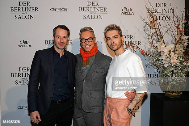 Marcus Kurz designer Wolfgang Joop and Bill Kaulitz attend the group presentation during the Der Berliner Mode Salon A/W 2017 at Kronprinzenpalais on...