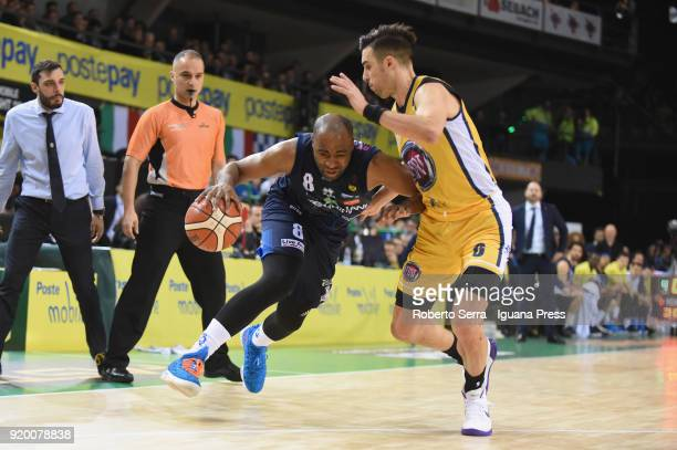 Marcus Landry of Germani competes with Aleksander Vujacic of Fiat during the LBA LegabLasket match ifinal of Coppa Italia between Auxilium Fiat...