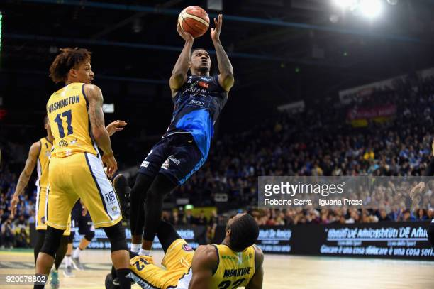 Marcus Landry of Germani competes with Deron Washington and Trevor Mbakwe of Fiat during the LBA LegabLasket match ifinal of Coppa Italia between...