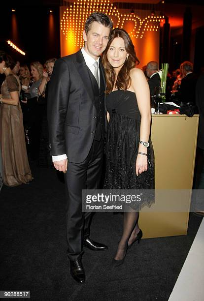 Marcus Lanz and partner Angela Gessmann attend the Goldene Kamera 2010 Award at the Axel Springer Verlag on January 30 2010 in Berlin Germany