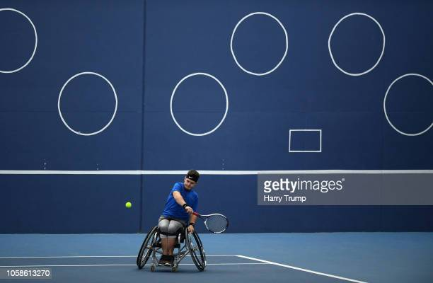 Marcus Laudan of Germany plays a shot during Day Two of the Bath Indoor Wheelchair Tennis Tournament 2018 at the University of Bath on November 7...