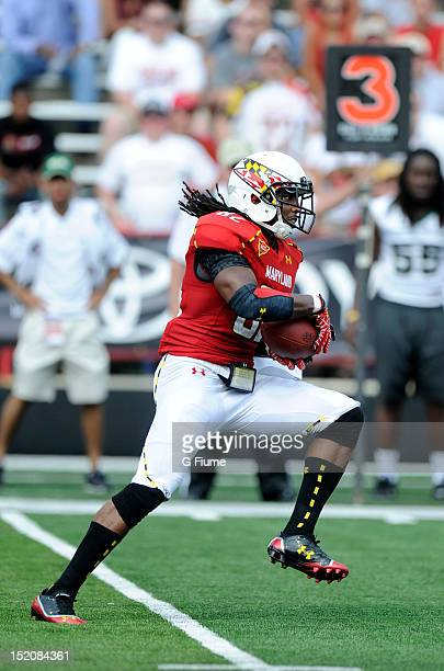 Marcus Leak of the Maryland Terrapins makes a catch against the William Mary Tribe at Byrd Stadium on September 1 2012 in College Park Maryland