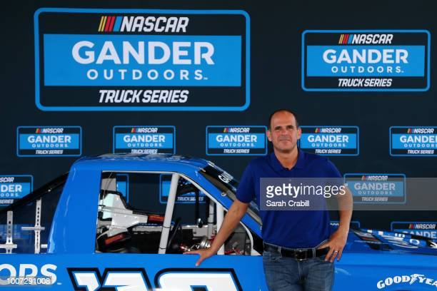 Marcus Lemonis Chairman of Gander Outdoors Camping World and Overton's poses for a photo during a press conference prior to the Monster Energy NASCAR...