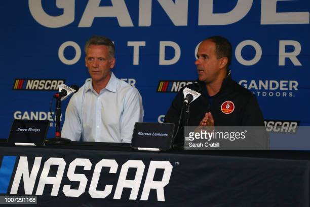 Marcus Lemonis Chairman of Gander Outdoors Camping World and Overton's and NASCAR Chief Operating Officer Steve Phelps speak with the media during a...
