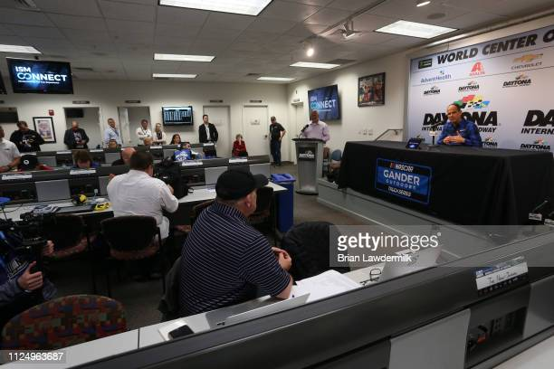 Marcus Lemonis speaks during a press conference prior to practice for the NASCAR Gander Outdoor Truck Series NextEra Energy 250 at Daytona...