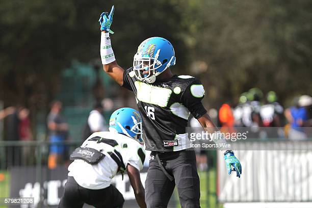 Marcus Lewis of Washington DC celebrates a great play during the 2014 Under Armour AllAmerican practice at Disney's ESPN Wide World of Sports Complex...
