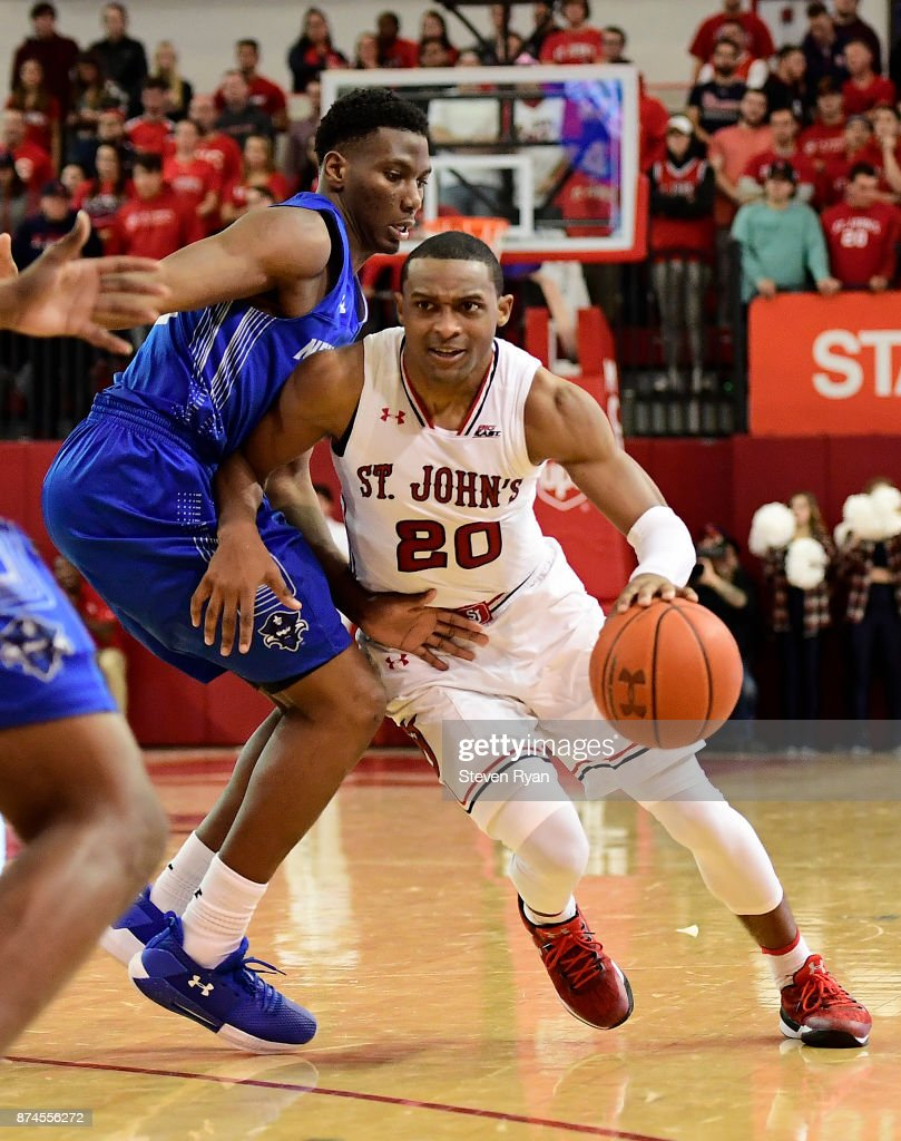 Marcus LoVett #20 of St. John's in action against New Orleans during an NCAA basketball game at Carnesecca Arena on November 10, 2017 in the Jamaica neighborhood of the Queens borough of New York City.
