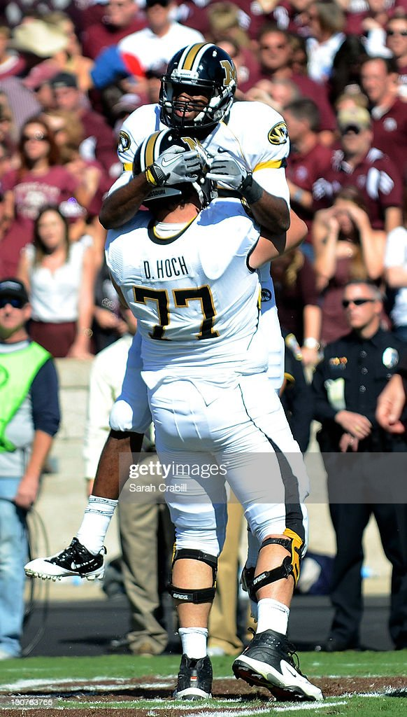 Marcus Lucas #85 of the Missouri Tigers celebrates after scoring a touchdown in overtime during a game against the Texas A&M Aggies at Kyle Field on October 29, 2011 in College Station, Texas. The Missouri Tigers defeated the Texas A&M Aggies 38-31.