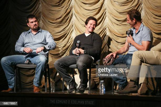 Marcus Luttrell actor Mark Wahlberg and writer/director Peter Berg speak at the Film Independent at LACMA screening and QA of 'Lone Survivor' at Bing...
