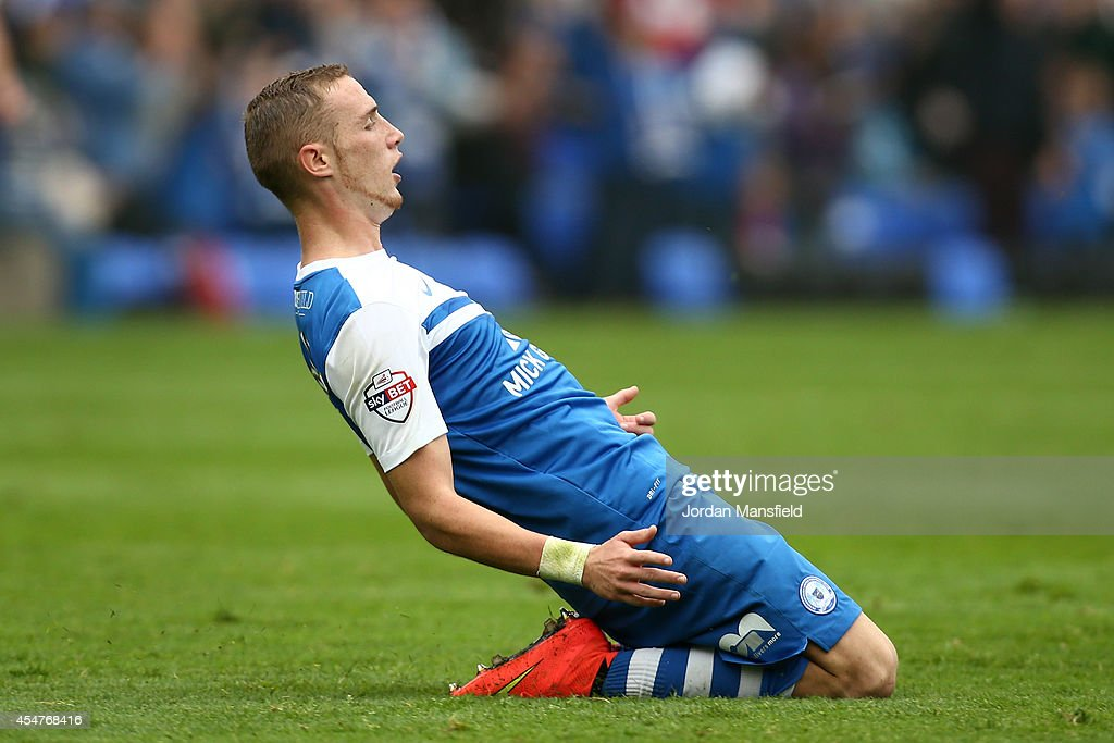 Marcus Maddison of Peterborough celebrates after scoring to make it 1-0 during the Sky Bet League One match between Peterborough United and Port Vale at London Road Stadium on September 6, 2014 in Peterborough, England.