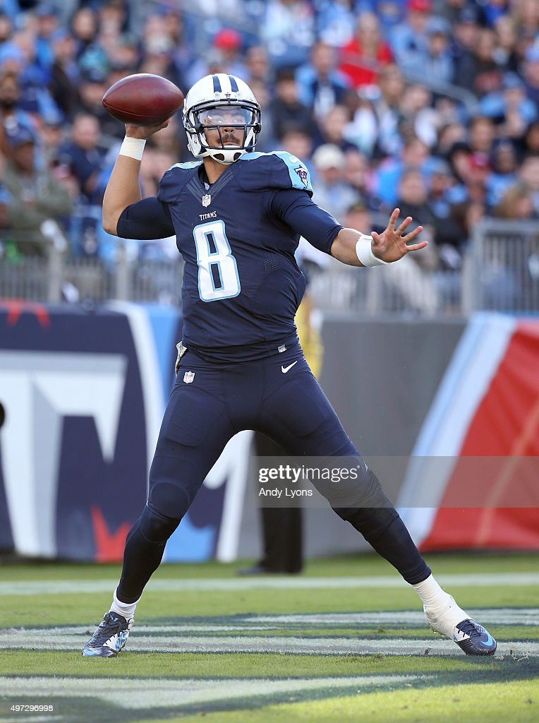 Marcus Mariota #8 of the Tennesse Titans throws during the second half against the Carolina Panthers at LP Field on November 15, 2015 in Nashville, Tennessee.