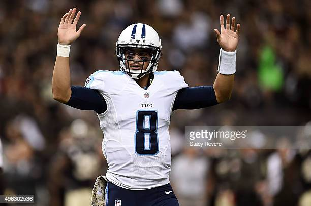 Marcus Mariota of the Tennessee Titans celebrates a touchdown during the second quarter of a game against the New Orleans Saints at the MercedesBenz...