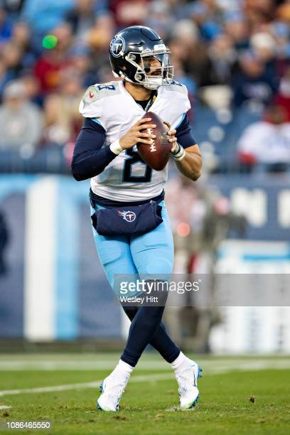 Marcus Mariota of the Tennessee Titans drops back to pass during a game against the Washington Redskins at Nissan Stadium on December 22 2018 in...