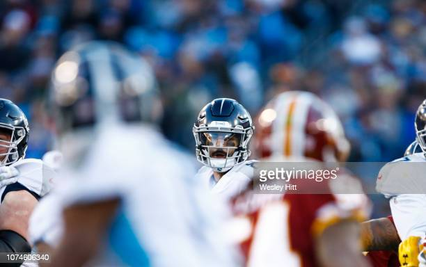 Marcus Mariota of the Tennessee Titans looks to pass against the Washington Redskins during the first quarter at Nissan Stadium on December 22 2018...
