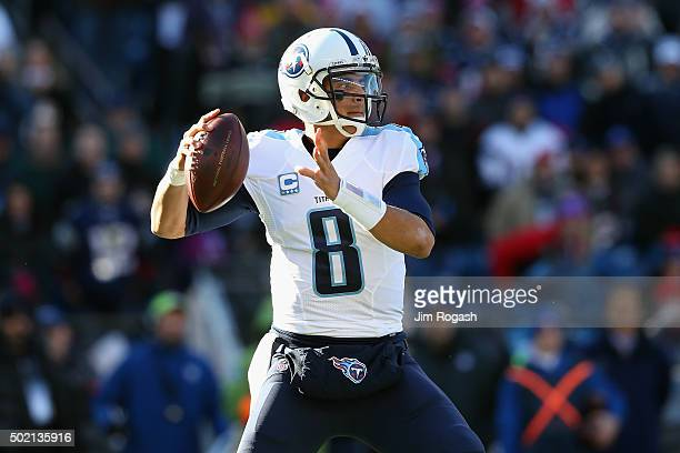Marcus Mariota of the Tennessee Titans looks to pass during the first half against the New England Patriots at Gillette Stadium on December 20 2015...