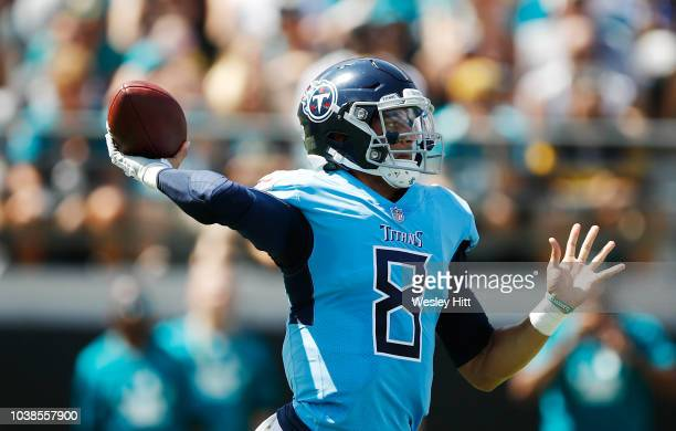 Marcus Mariota of the Tennessee Titans looks to pass the football during their game against the Jacksonville Jaguars at TIAA Bank Field on September...