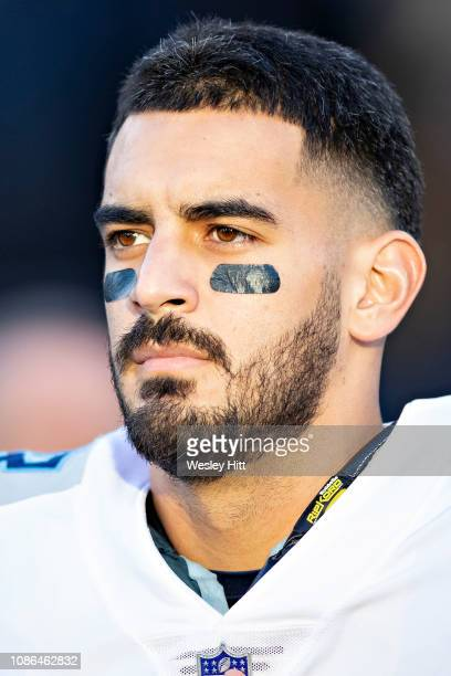 Marcus Mariota of the Tennessee Titans on the sidelines before a game against the Washington Redskins at Nissan Stadium on December 22 2018 in...