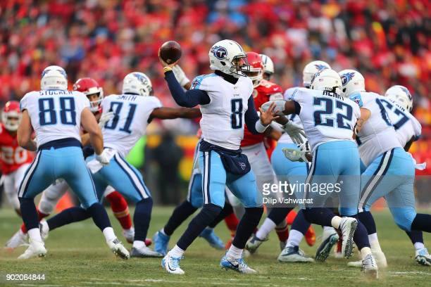 Marcus Mariota of the Tennessee Titans passes against the Kansas City Chiefs during the AFC Wild Card playoff game at Arrowhead Stadium on January 6...