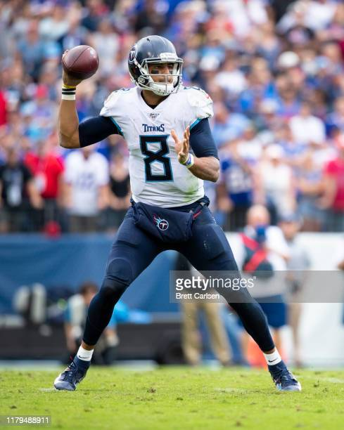 Marcus Mariota of the Tennessee Titans passes the ball during the third quarter against the Buffalo Bills at Nissan Stadium on October 6 2019 in...
