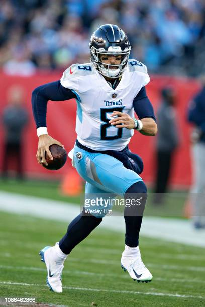 Marcus Mariota of the Tennessee Titans runs the ball during a game against the Washington Redskins at Nissan Stadium on December 22 2018 in Nashville...