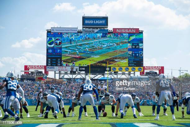 Marcus Mariota of the Tennessee Titans stands in the shotgun position in the red zone during the third quarter against the Indianapolis Colts at...