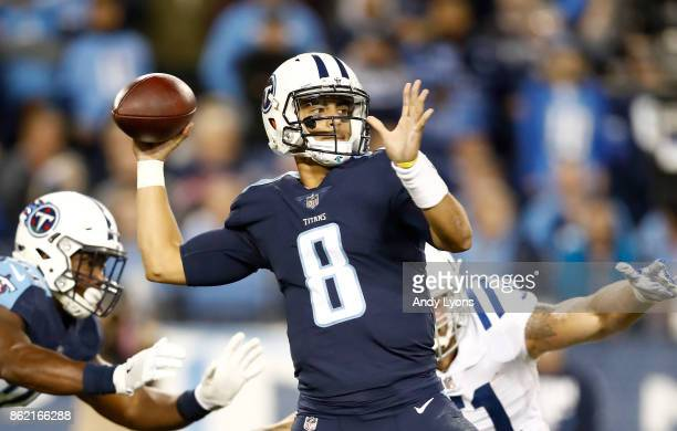 Marcus Mariota of the Tennessee Titans throws a pass against the Indianapolis Colts at Nissan Stadium on October 16 2017 in Nashville Tennessee