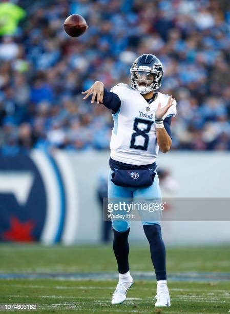 Marcus Mariota of the Tennessee Titans throws a pass against the Washington Redskins during the first quarter at Nissan Stadium on December 22 2018...