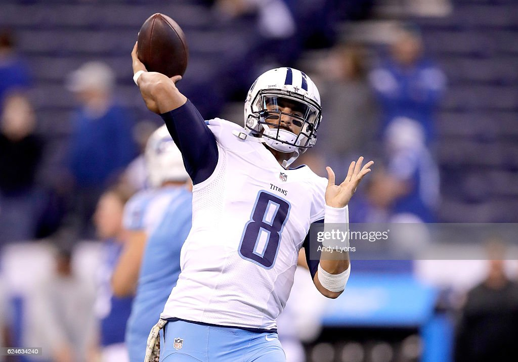 Marcus Mariota #8 of the Tennessee Titans throws a pass before the game against the Indianapolis Colts at Lucas Oil Stadium on November 20, 2016 in Indianapolis, Indiana.