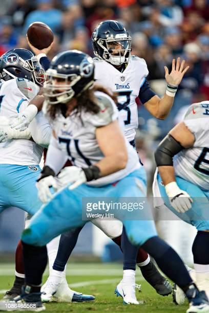 Marcus Mariota of the Tennessee Titans throws a pass during a game against the Washington Redskins at Nissan Stadium on December 22 2018 in Nashville...