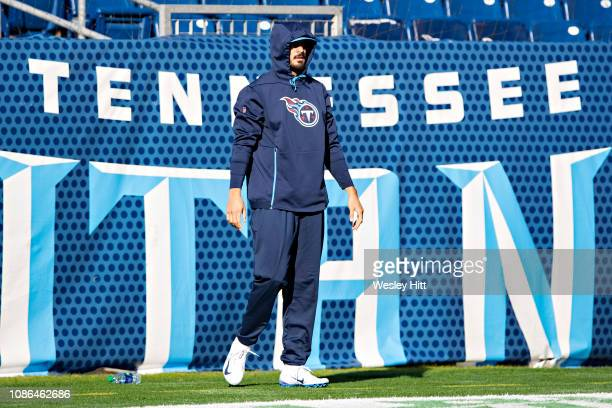 Marcus Mariota of the Tennessee Titans warms up before a game against the Washington Redskins at Nissan Stadium on December 22 2018 in Nashville...