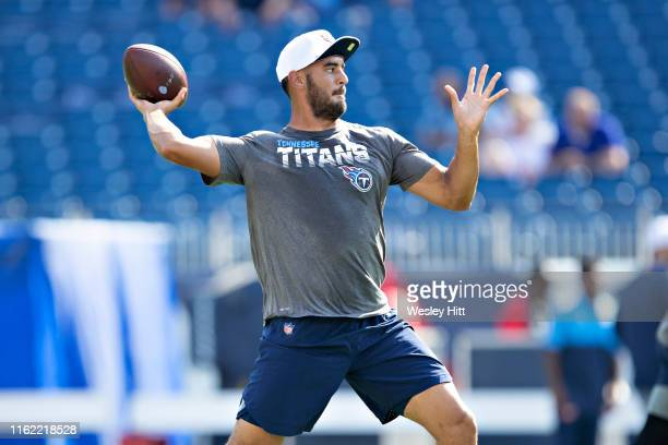 Marcus Mariota of the Tennessee Titans warms up before a week two preseason game against the New England Patriots at Nissan Stadium on August 17 2019...