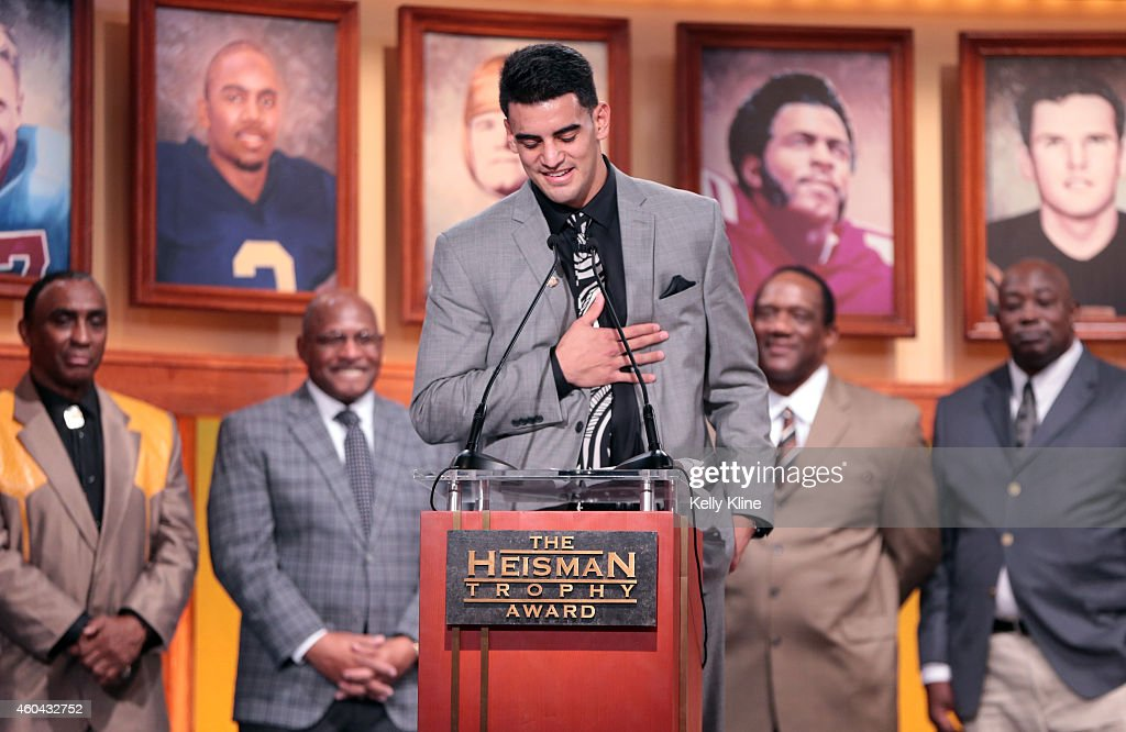 Marcus Mariota, quarterback for the University of Oregon Ducks, speaks after being named the 80th Heisman Memorial Trophy Award winner during the 2014 Heisman Trophy Presentation at the Best Buy Theater on December 13, 2014 in New York City.