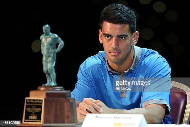 Marcus Mariota winner of the Maxwell Award for College Player of the Year attends the 78th Annual Maxwell Football Club Awards Gala Press Conference...