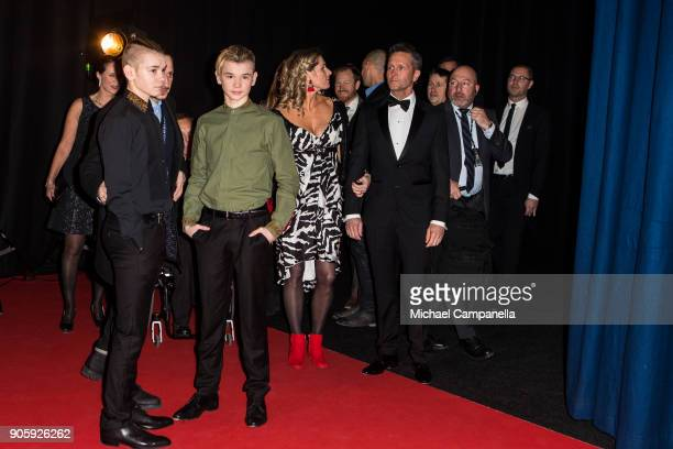 Marcus Martinus the red carpet when arriving at Idrottsgalan the annual Swedish sports awards gala held at the Ericsson Globe Arena on January 15...