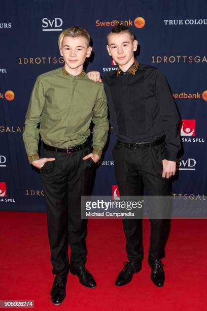 Marcus Martinus walk the red carpet when arriving at Idrottsgalan the annual Swedish sports awards gala held at the Ericsson Globe Arena on January...