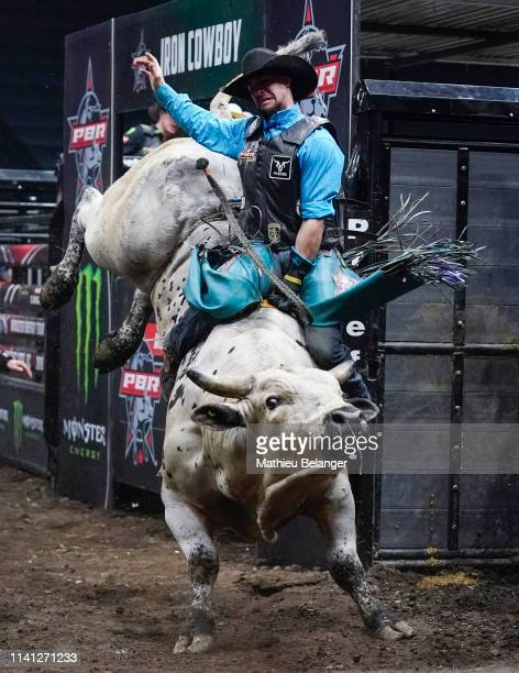 Marcus Mast of the USA rides Flash Forward during the PBR Monster Energy Tour Professional Bull Riders event at Videotron Centre on May 4, 2019 in...