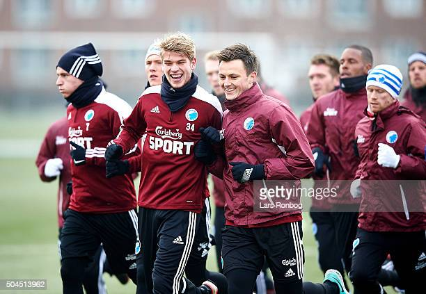 Marcus Mathisen of FC Copenhagen and William Kvist of FC Copenhagen joking during the FC Copenhagen first training session at KB's baner on January...