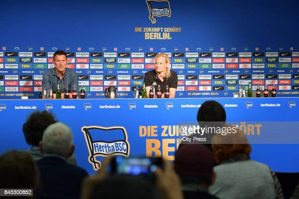 Marcus 'Max' Jung of Hertha BSC and Match referee Bibiana Steinhaus after the game between Hertha BSC and Werder Bremen on September 10 2017 in...