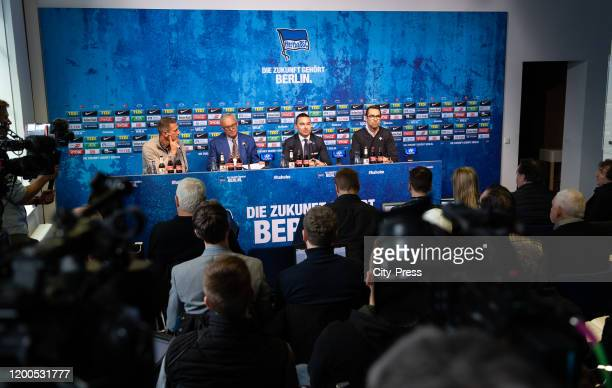 Marcus 'Max' Jung President Werner Gegenbauer of Hertha BSC Investor Lars Windhorst and Michael Preetz of Hertha BSC of Hertha BSC during the press...