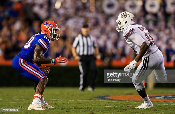 Marcus Maye of the Florida Gators in action during the game against the Massachusetts Minutemen at Ben Hill Griffin Stadium on September 3 2016 in...