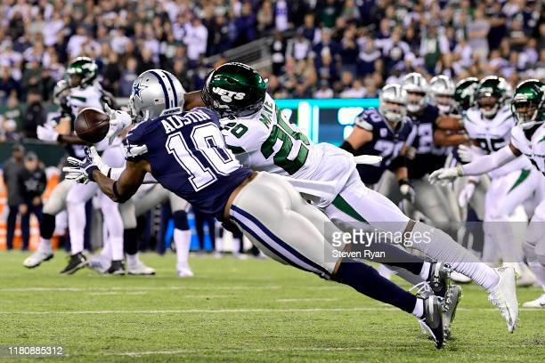 Marcus Maye of the New York Jets breaks up a pass intended for Tavon Austin of the Dallas Cowboys during the fourth quarter at MetLife Stadium on...