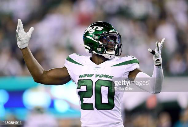 Marcus Maye of the New York Jets reacts to a pass interference call in the fourth quarter against the Dallas Cowboys at MetLife Stadium on October 13...